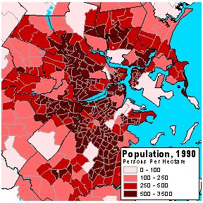 The Two Choropleth Maps Of Population Above Reveal Two Distinctly Different Patterns Of Population Distribution For Eastern Massachusetts